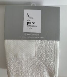 The Pure Collection White Matelasse With Embroidered Border Shower Curtain NEW