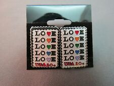 LOVE 20₵ STAMP Enamel Earrings Pierced Stud Colorful Hearts Collector's Item