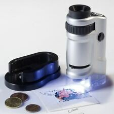 POCKET MICROSCOPE WITH LED - 20x & 40x MAGNIFICATION - IDEAL FOR STAMPS .- NEW