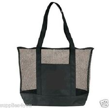 Black Mesh Zippered Tote Large Shopping Bag Purse Sports Beach Travel + Pocket