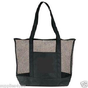 Black Mesh Zippered Tote Large Shopping Bag Purse Sports Beach Travel + Pocket