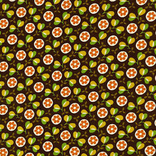 Woodstock Brown Modern Floral Timeless Treasures Quilt Fabric by 1/2 yard c1506