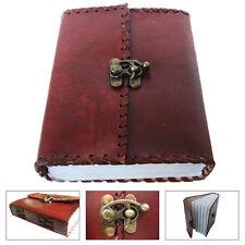 LEDERBUCH Tagebuch Notizbuch Kladde Echt-Leder 16x12cm mit Schloss Büttenpapier