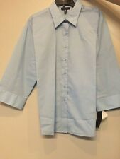 Foxcroft Women's Endless Sky 3/4 Sleeved Blouse Wrinkle Free Size 16 Misses