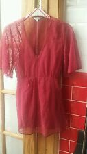 UK 10 M&Co. Raspberry pink sheer short sleeve top with camisole wedding formal