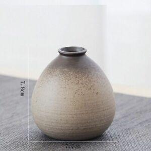 Small Stoneware Flower Vase Decorative Retro Ceramic Container Floral Home Decor