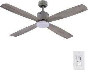 Home Decorators Kitteridge 52 in. Gray Wood Finish Ceiling Fan with Remote