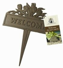 WELCOME Picket Sign for Lawn & Garden (Rust Effect Cast Iron) With Ground Spike