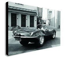 STEVE McQUEEN Jaguar XK-SS Canvas Wall Art Framed Print - Various sizes