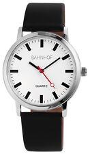 Herren Armbanduhr - Quarz Herrenuhr 42 mm Bahnhof Bahnhofsuhr Schwarz Uhr White