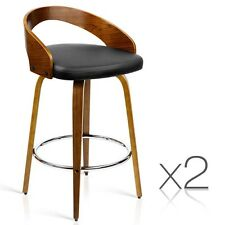 2x Wooden Bar Stool Swivel Barstool Kitchen Dining Chair Wood Black 8565
