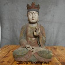 "13.6"" Old Chinese Wood Lacquerware Painting Hand Carved Shakyamuni Buddha Statue"