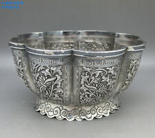 ANTIQUE CHINESE SOLID SILVER EMBOSSED & CHASED BOWL 130g TU MAO XING, QING c1890