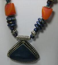 NEW Necklace from Tibetian Artisans @ Tucson Gem Show Blue Lapis Color Pendant