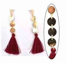 MACKRI 3 Cicle Design Long Tassel Drop Earrings