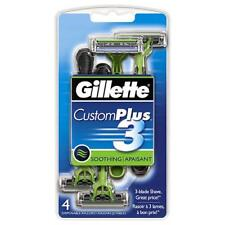 Gillette Custom Plus 3 Soothing 3 Blade Shave 4 Disposable Razors Set of 3
