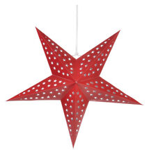 """24"""" Solid Red Cut-Out Paper Star Lantern, Hanging Decoration"""
