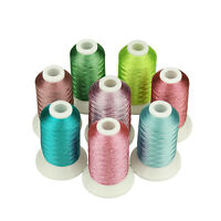 SIMTHREAD Metallic Embroidery Machine Spools Thread - 8 Colors, 550 Yards Each