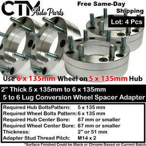 """4PC 2"""" THICK 5X135 to 6X135 87mm C.B CONVERTION WHEEL ADAPTER SPACER M14X2"""