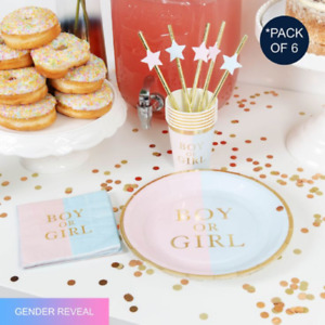 Gender Reveal Baby Shower Boy Or Girl Party Tableware Decoration Cups Plates
