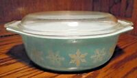 Vtg Pyrex Turquoise Snowflake 1 1/2 Qt Casserole Dish #043 w/ Clear Lid Oval 101