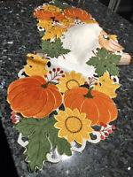 """Thanksgiving Fall Decor Table Runner Pumpkin Sunflower 69""""x 13"""" Embroidered"""