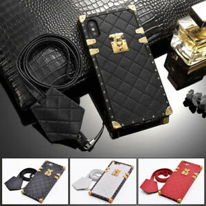 Luxury Classic Diamond Lattice Lambskin Leather Soft TPU Case Cover for iPhone