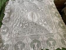 "More details for antique linen tablecloth deep crochet lace border art deco in style 54"" 55"""