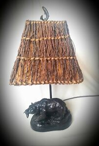 CAL Lighting▪BEAR Table LAMP▪ Antique Bronze  Finish with Twig SHADE