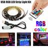 5V 5050 30SMD/M RGB LED Strip Light Bar TV Back Lighting Kit+USB Remote Control