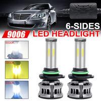 2x 6-Side 9006 HB4 LED 3000K 6000K 8000K Headlight Bulb Low beam FogLight+Canbus