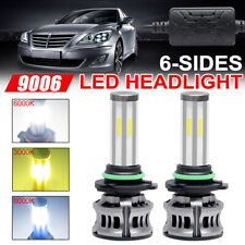 2x 6-Side 9006 Hb4 Led 3000K 6000K 8000K Headlight Bulb Low beam FogLight+Canbus