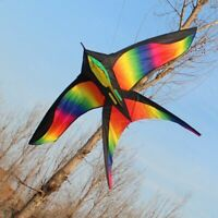 Rainbow Color Big Bird Kite 172cm Colorful Swallow Easy Control Flying Kids Toy