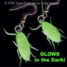 Funky Huge GLOW COCKROACH EARRINGS Halloween Horror Bug Gag Gift Novelty Jewelry