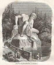 A5213 Parco di Pratolino in Toscana - Veduta - Xilografia del 1842 - Engraving