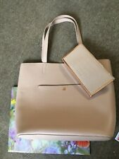 New Genuine Ted Baker Ivalyn Large Bag & Purse Clutch In Nude Cream Leather