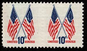 1973 US #1509 - 10c Crossed Flags Pair with Faint Blind Perfs in Between Mint NH