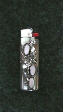 New Beautiful Native American Pink Mussel Shell Silver Lighter Cover Case
