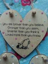 Winnie the Pooh (Stronger) Friendship Heart Loved Quote Plaque Wooden Handmade