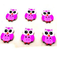 hot Mixed Color Wood Sewing Button Scrapbooking Cute Owl Shaped Crafts 2Holes