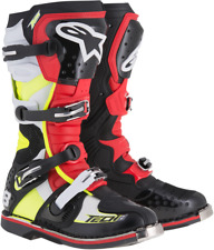 Alpinestars Mens Tech 8 RS Black Red Yellow Leather Motorcycle Off road Boots