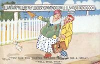 Vintage colour printed comic postcard married couple gone to Wales spell that