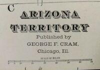 "Vintage 1902 ARIZONA TERRITORY Atlas Map 14""x22"" ~ Old Antique Original PHOENIX"