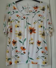 NEXT White Floral Jersey Tunic Top - Size 18