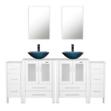 "72"" Bathroom Vanity Small Cabinet Set Tempered Glass Vessal Sink Mirror Faucet"