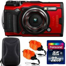 Olympus Tough TG-6 Digital Camera Red + 32GB Memory Card + Strap & Case