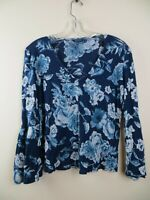 Womens Lucky Brand blue floral print boho blouse sz Small v heck bell sleeves lo