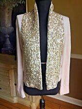 NEW J Crew Sequin Scarf Cardigan Sweater Pink Blush Large 100% Wool NWT $138