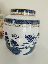 ROYAL DOULTON BOOTHs REAL OLD WILLOW GINGER JAR Blue Willow Gold Trim  vtg china