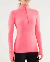 $128 LULULEMON Womens Size 10 Run Swiflty Tech 1/2 Zip Pink Coral Running Jacket